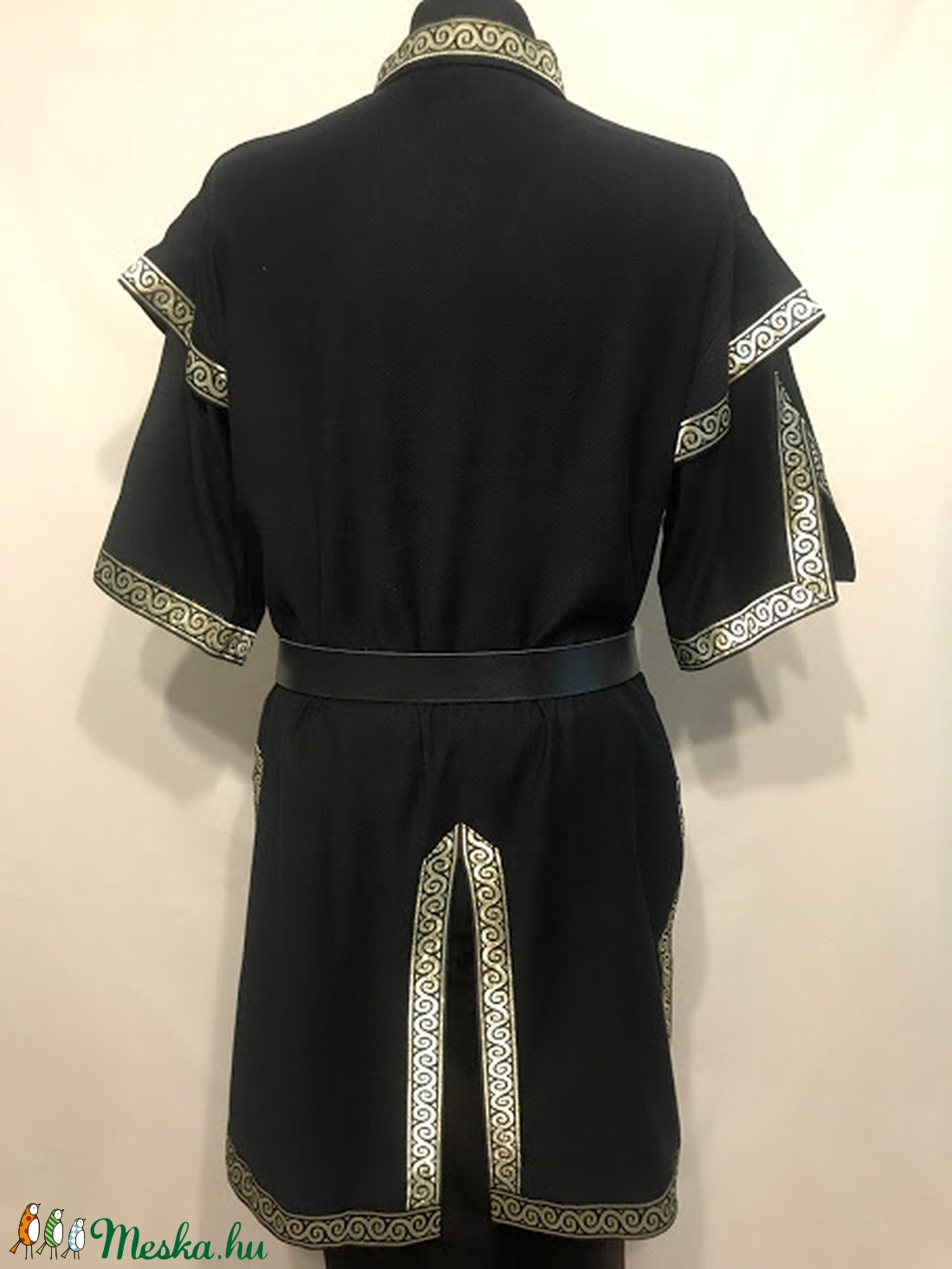 Kaftán fekete-arany mongol fazon - ruha & divat - férfi ruha - Meska.hu