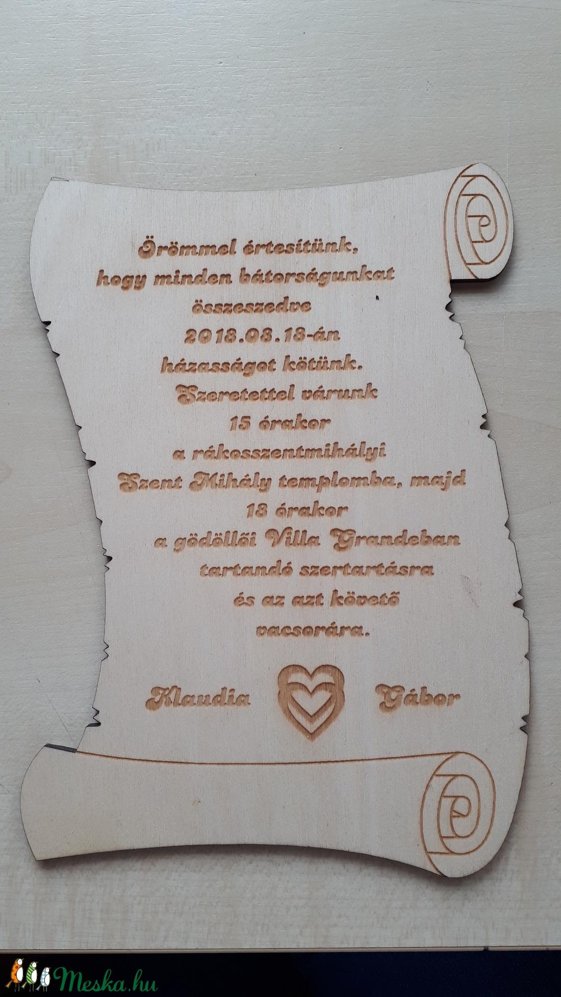 Esküvői meghívó fából (Kamea) - Meska.hu