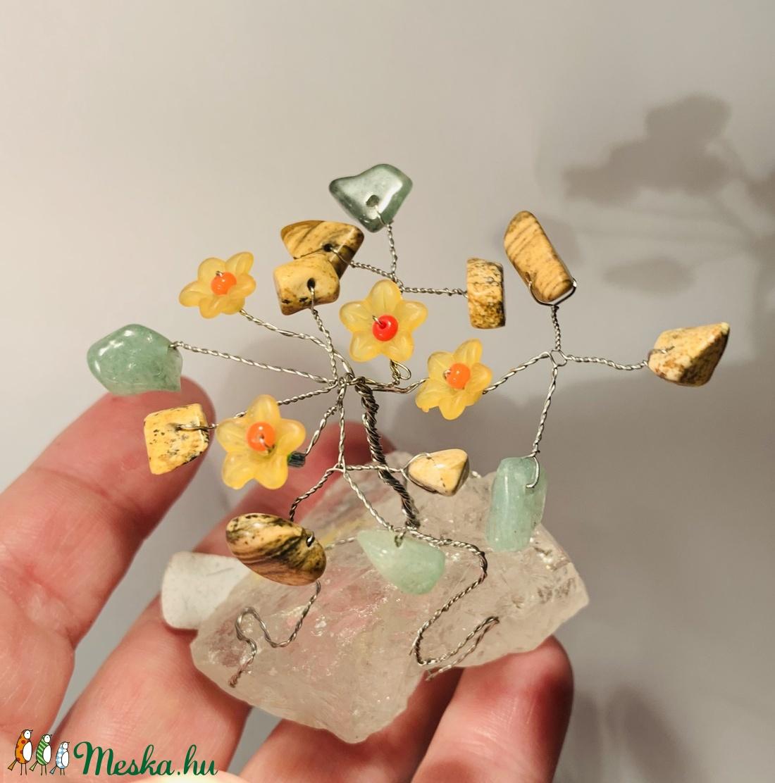 Szerencsefa kristályfa életfa HEGYIKRISTÁLY AVENTURIN JÁSPIS virágokkal! - otthon & lakás - dekoráció - dísztárgy - Meska.hu