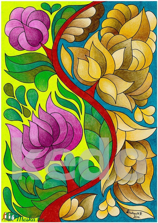 Virágfüggöny 2 - falikép (kedo) - Meska.hu