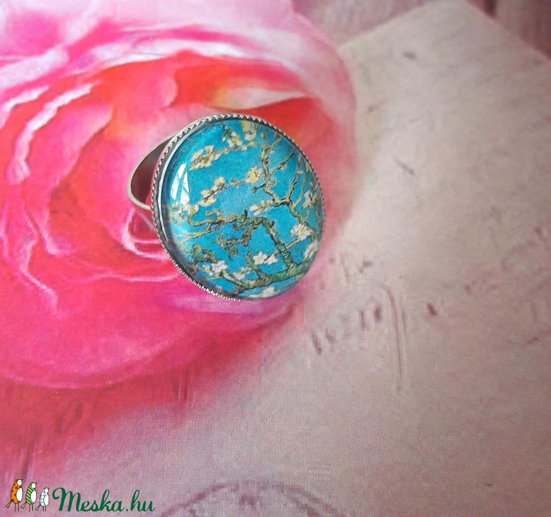 Van Gogh virágai - nemesacél alapú üveglencsés gyűrű (Kenza) - Meska.hu