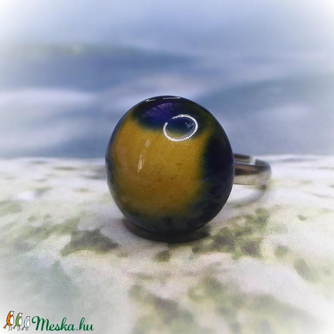 FÚZIÓ - Kék - sárga mázas kerámia gyűrű  - ékszer - gyűrű - szoliter gyűrű - Meska.hu