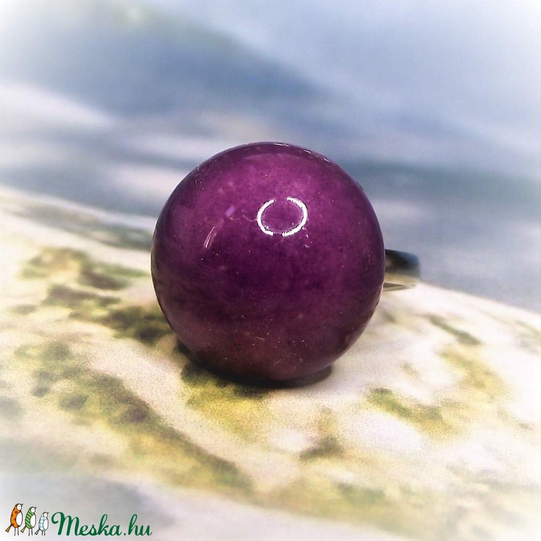 Orgona-lila kerámia gyűrű  - ékszer - gyűrű - szoliter gyűrű - Meska.hu