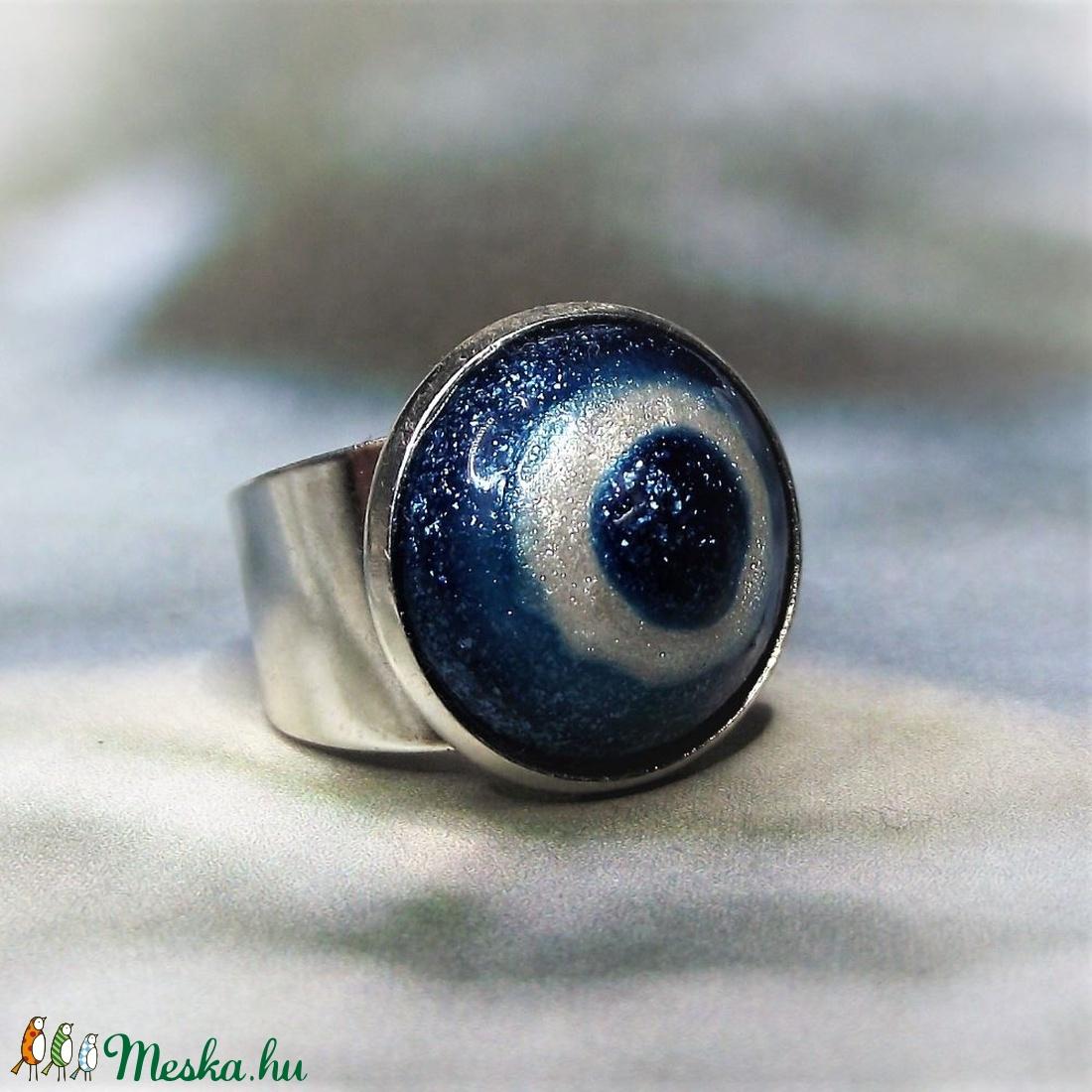 UNIKORNIS csillogó kék-fehér kerámia gyűrű - Ajándék lányoknak nőknek névnapra születésnapra - ékszer - gyűrű - szoliter gyűrű - Meska.hu