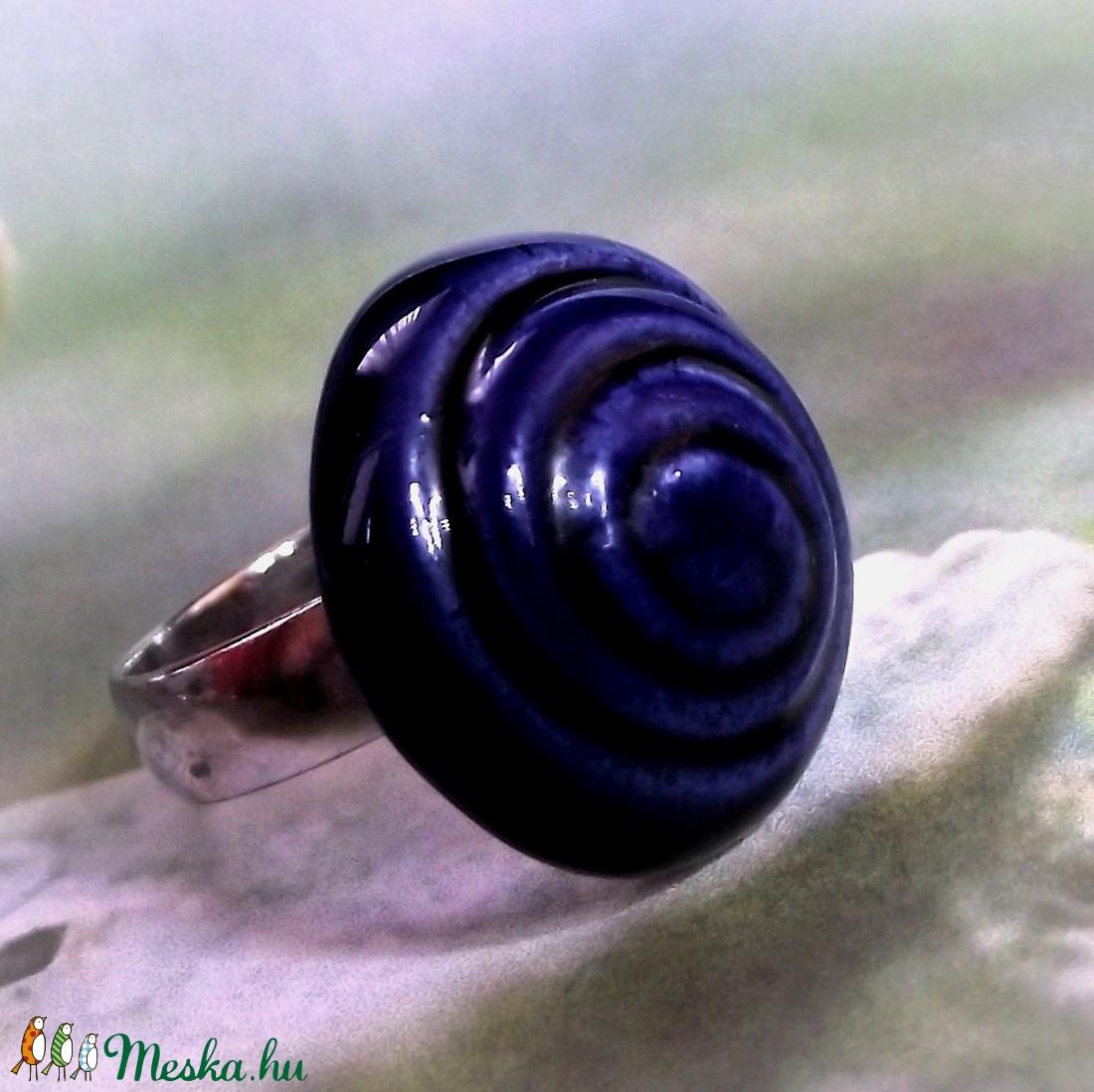 Spirál mintás kék mázas kerámia gyűrű - ékszer - gyűrű - szoliter gyűrű - Meska.hu
