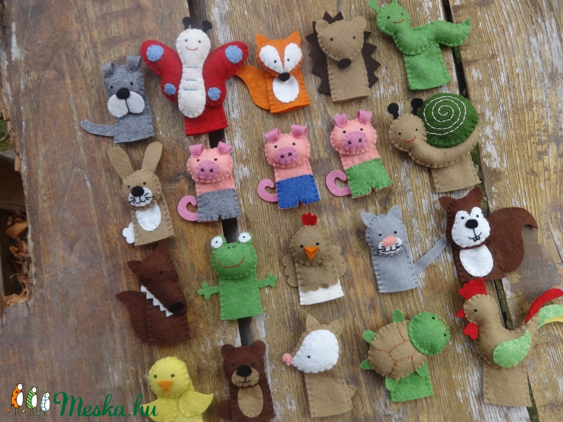d5057709edc8 ... 20 db állatos ujjbáb (malac, nyuszi,farkas, róka,csiga,mókus