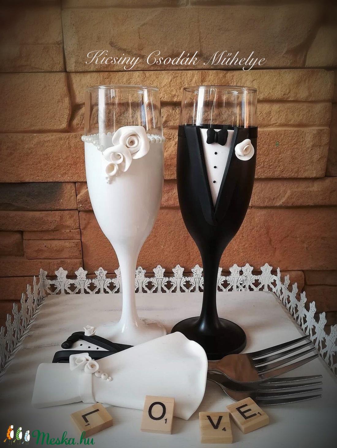 Fehér rózsa esküvői pohár pár (KicsinyCsodak) - Meska.hu