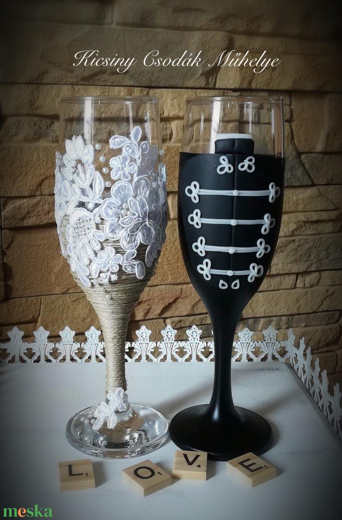 Vintage esküvői pohár pár (KicsinyCsodak) - Meska.hu