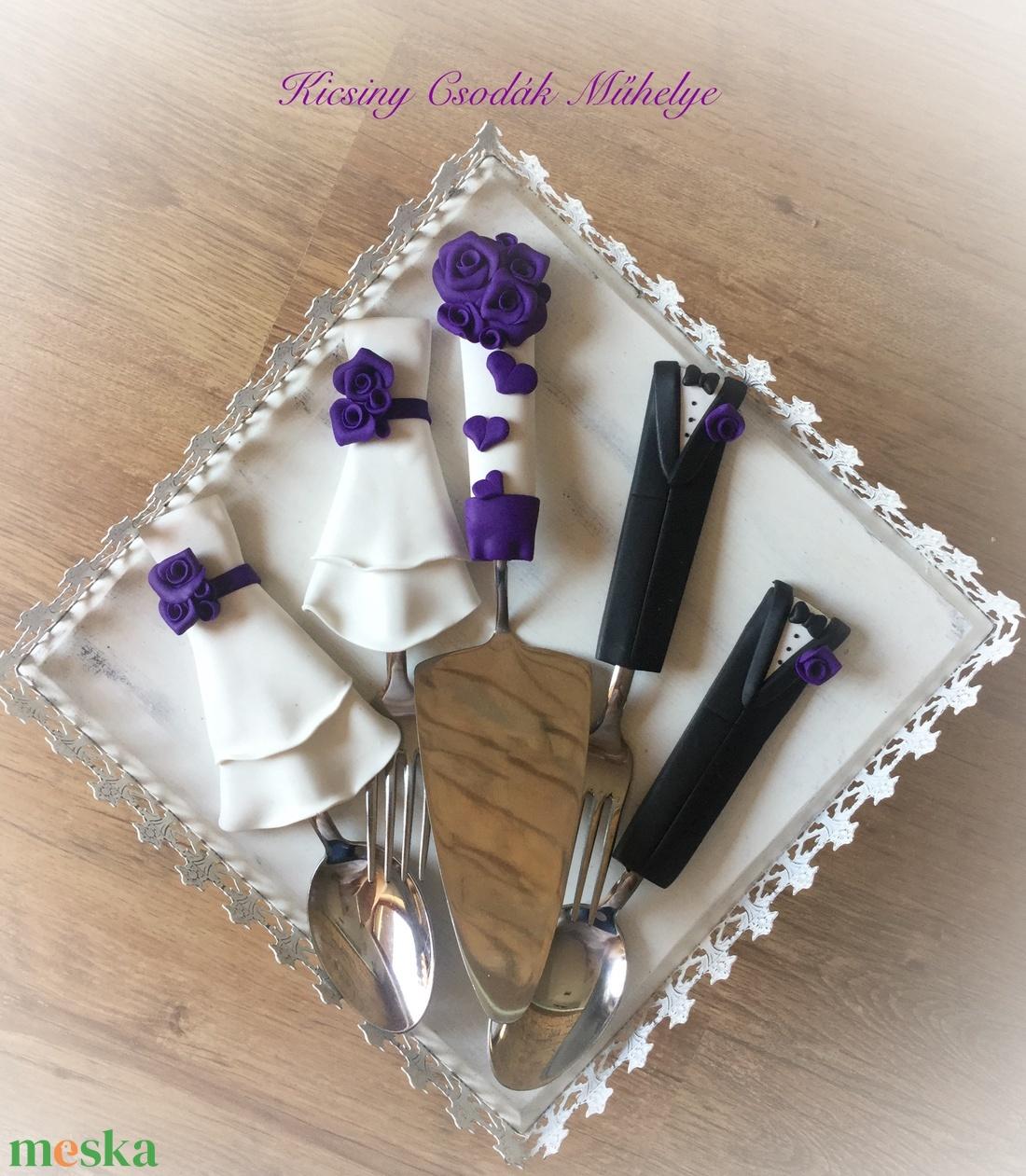 Lila rózsa esküvői evőeszközök. (KicsinyCsodak) - Meska.hu