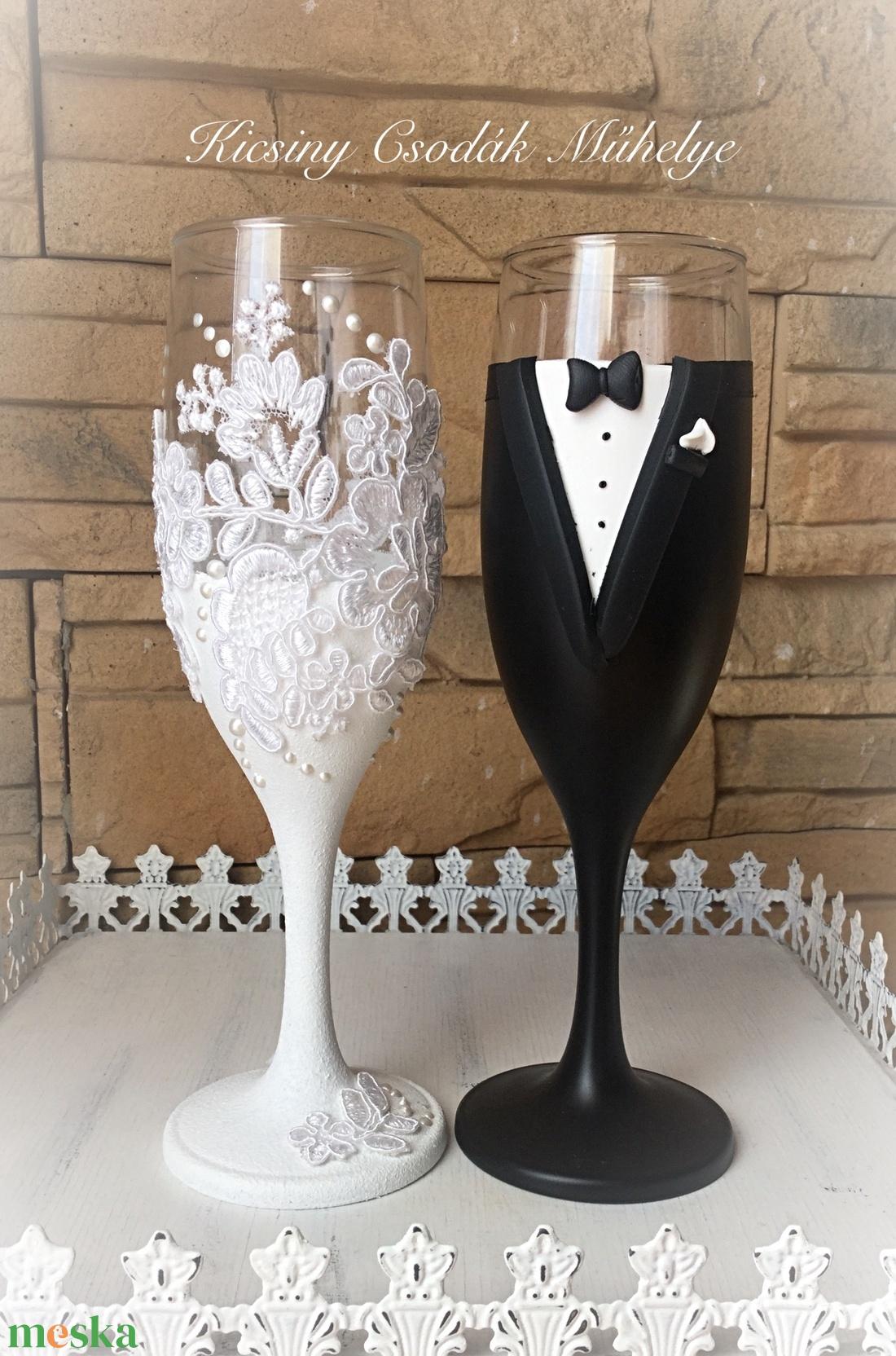 Szerelem esküvői pohár pár (KicsinyCsodak) - Meska.hu
