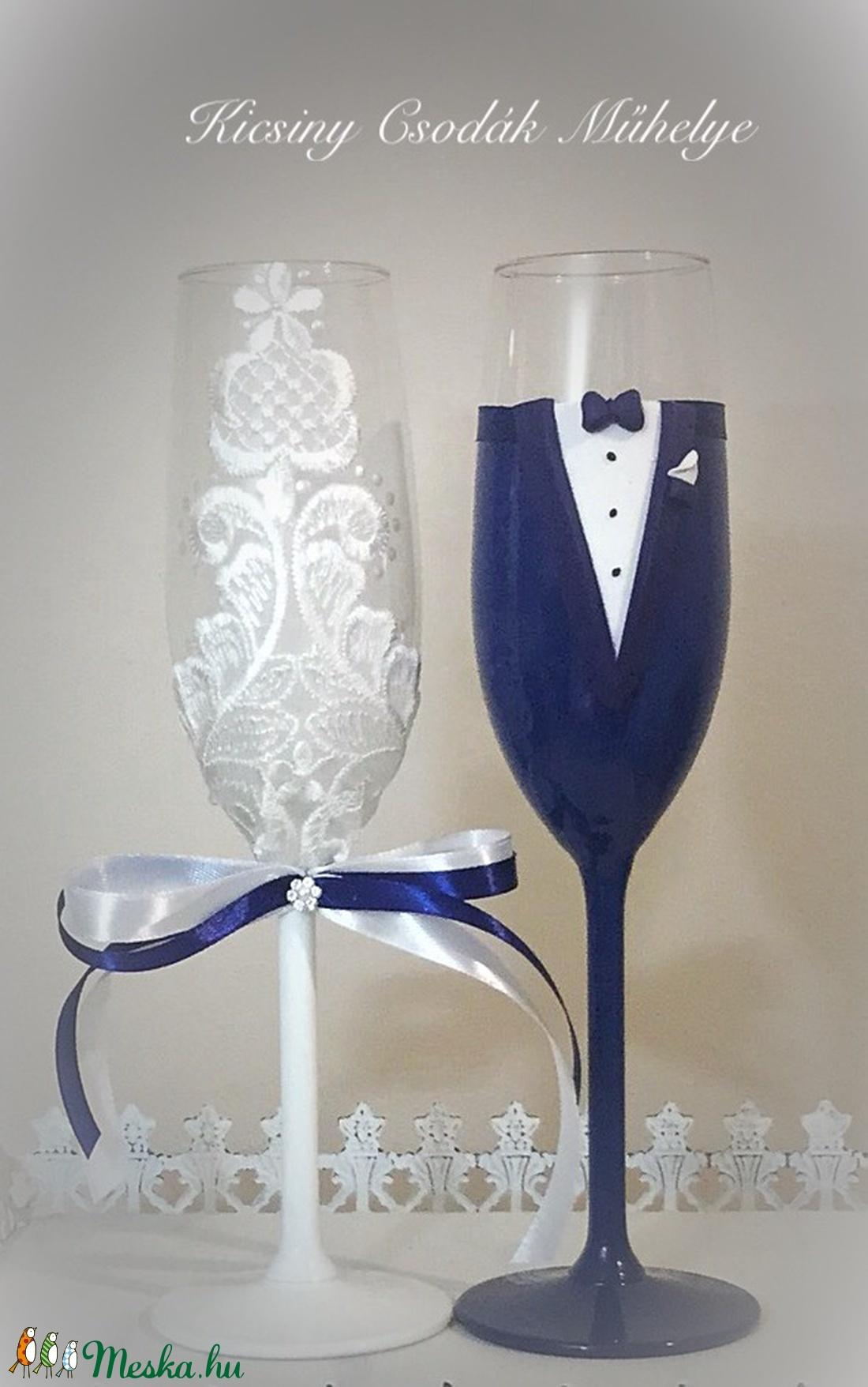 Navy kék Csipke esküvői pohár pár (KicsinyCsodak) - Meska.hu
