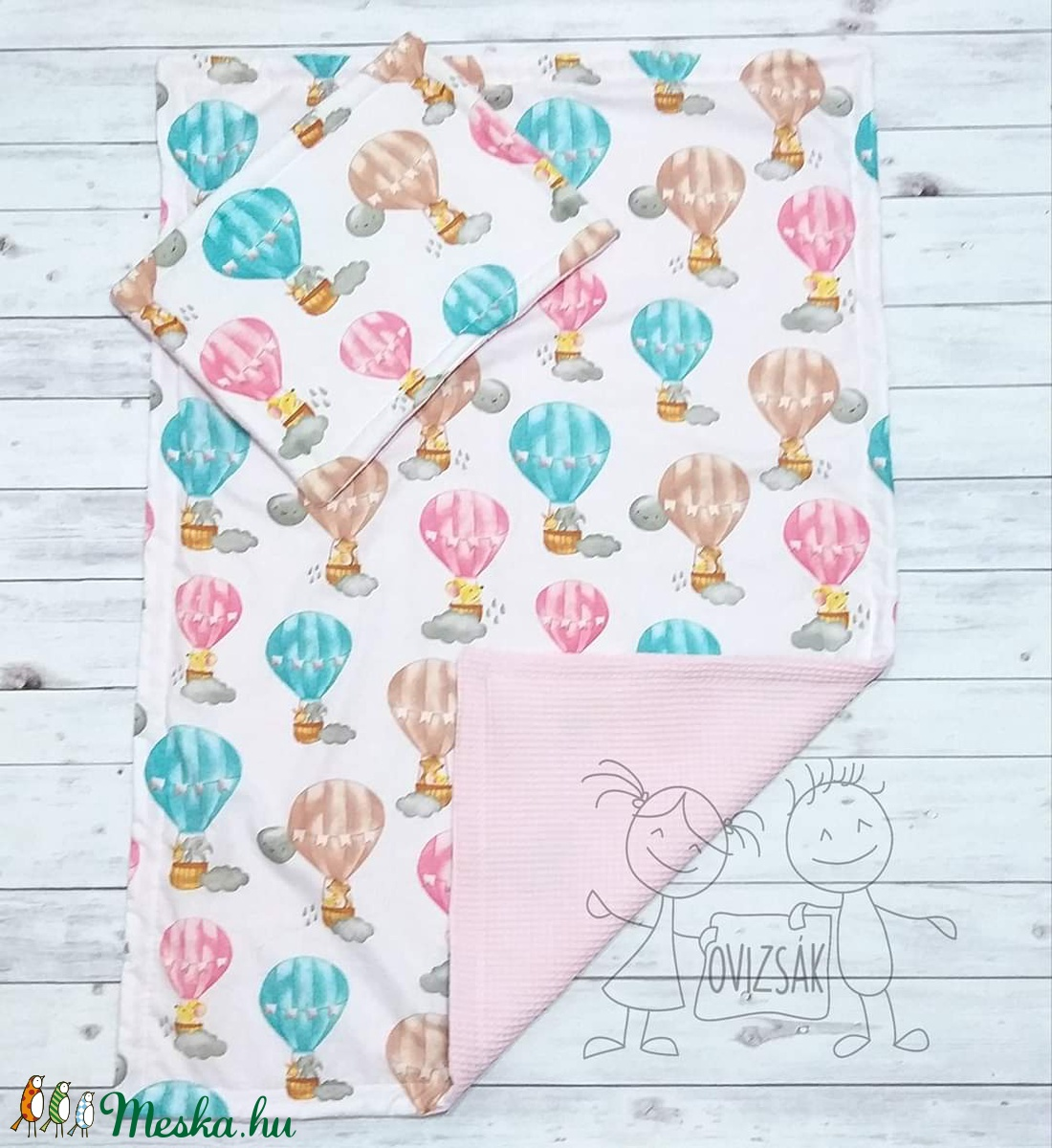 Hőlégballon mintás nyári babaágynemű - takaró és lapos kispárna szett - otthon & lakás - lakástextil - szett kiságyba - Meska.hu
