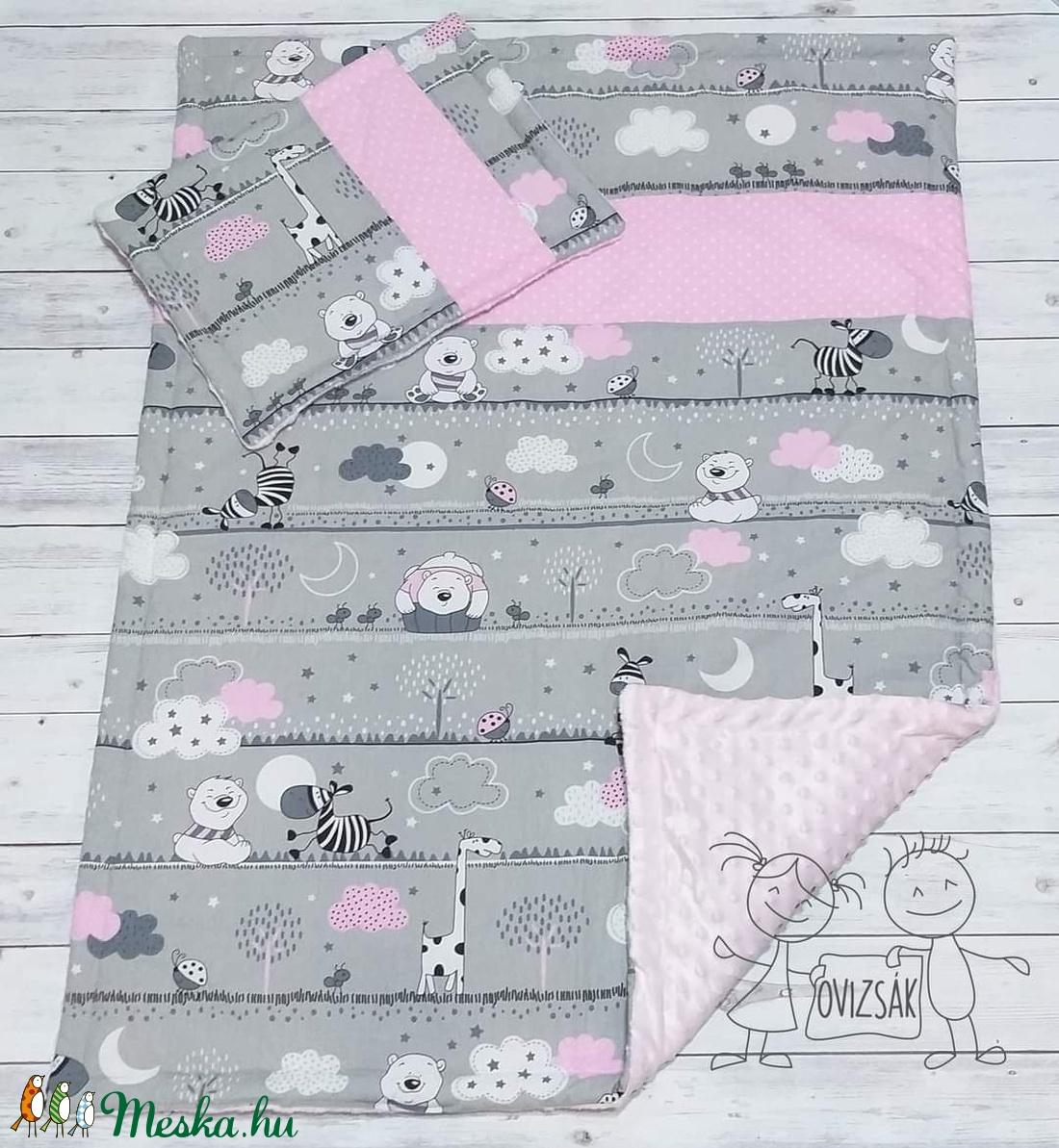 Maci és zebra mintás babaágynemű rózsaszín - takaró és lapos kispárna szett - Meska.hu