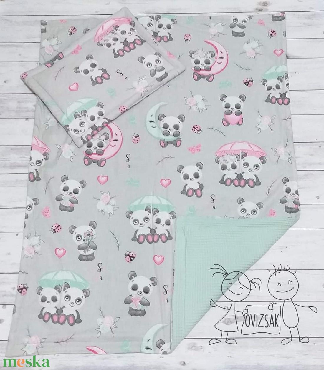 Panda mintás nyári babaágynemű - takaró és lapos kispárna szett - Meska.hu