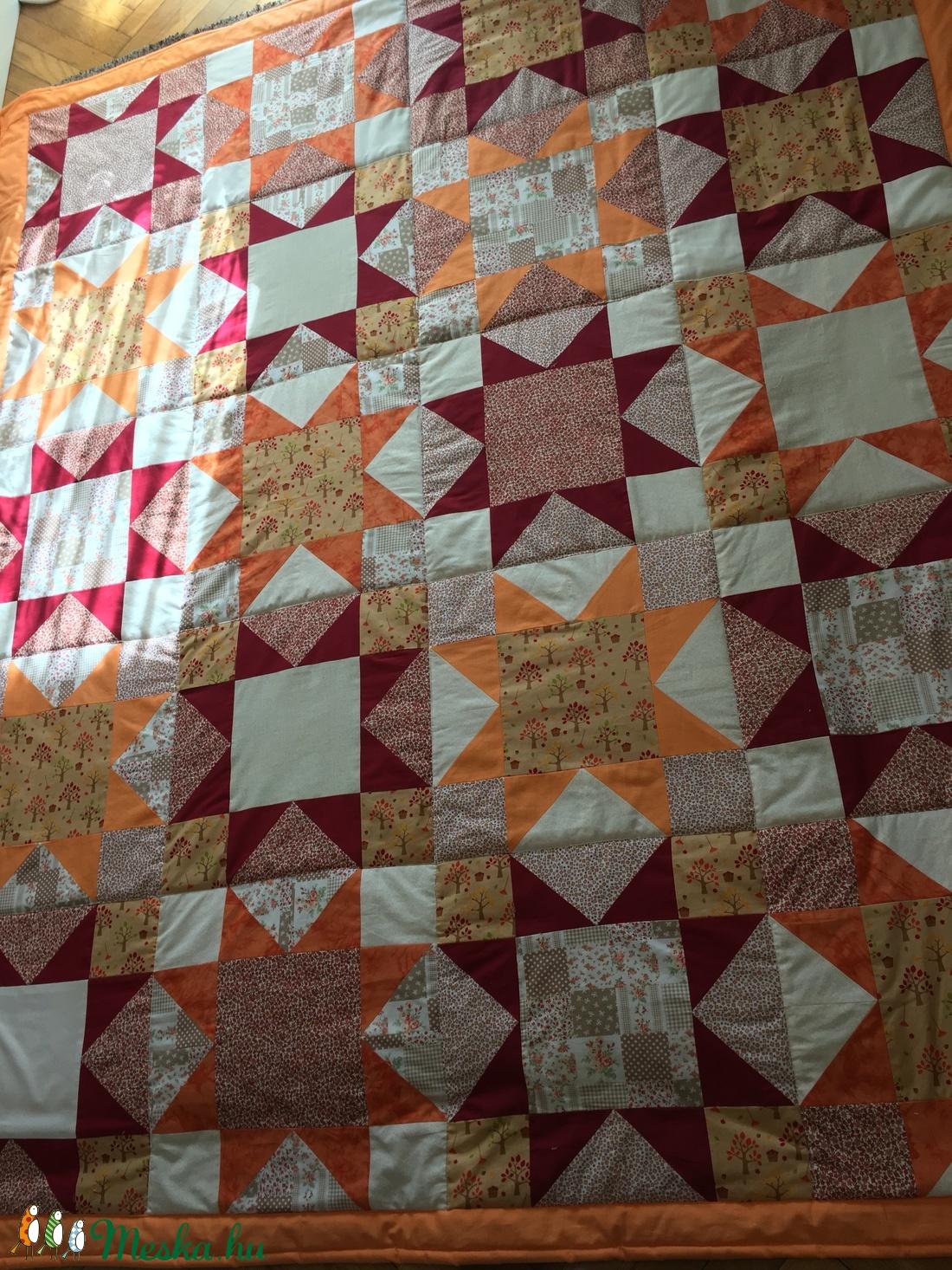 Narancssárga-barna csillagmintás patchwork  ágytakaró, takaró - otthon & lakás - lakástextil - ágytakaró - Meska.hu