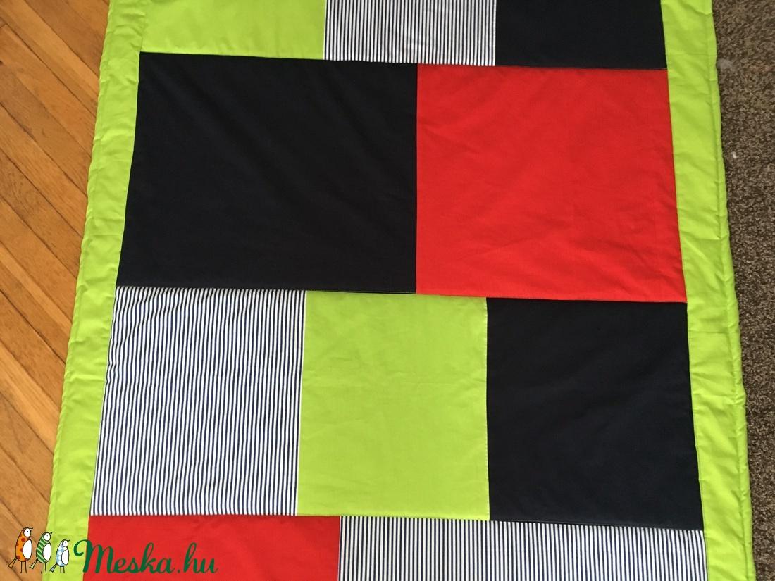 patchwork takaró, falvédő, hengerpárna kék-zöld-piros-csíkos  - otthon & lakás - lakástextil - takaró - Meska.hu