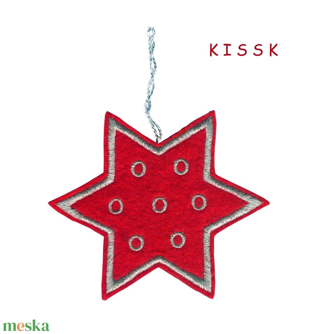 Piros - ezüst csillag karácsonyfa dísz (KISSK) - Meska.hu