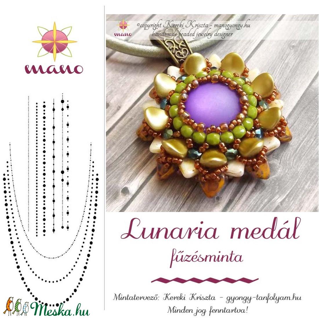 Lunaria medál fűzésminta (KKriszta) - Meska.hu