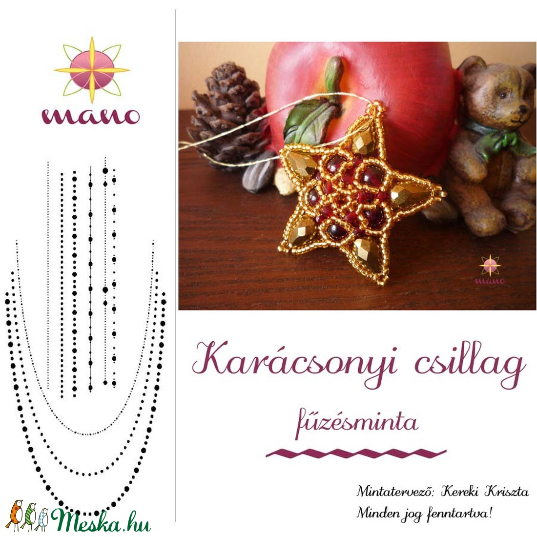 Karácsonyi csillag fűzésminta (KKriszta) - Meska.hu