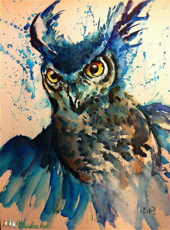 Morcos bagoly akvarell festmény (Eredeti) (konradoart67) - Meska.hu
