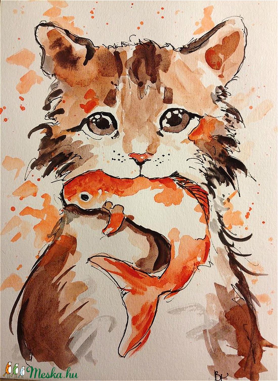 A cica és a halacska esete (Eredeti) (konradoart67) - Meska.hu