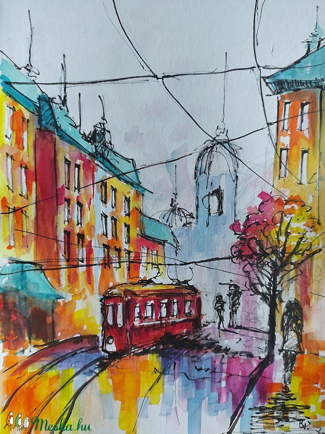 Piros villamos (Eredeti alkotás) - művészet - festmény - akvarell - Meska.hu