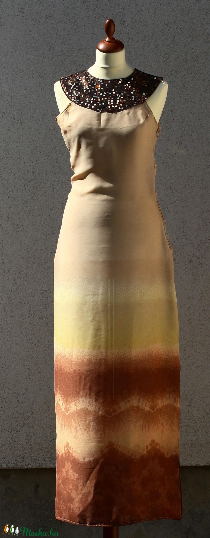 Drapp - barna színátmenetes ruha flitteres nyakrésszel - ruha & divat - női ruha - ruha - Meska.hu