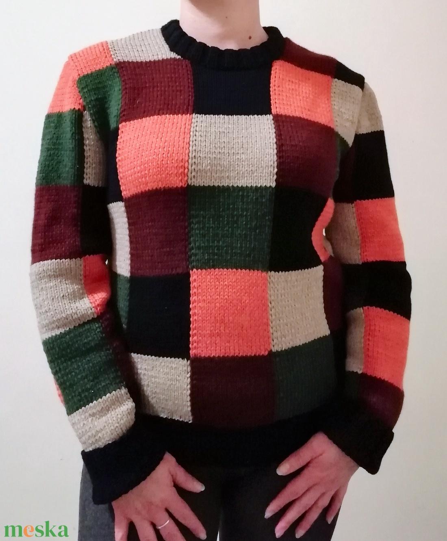 Kézzel kötött kockás pulóver (KreaCsilla) - Meska.hu 6c3261c1e3