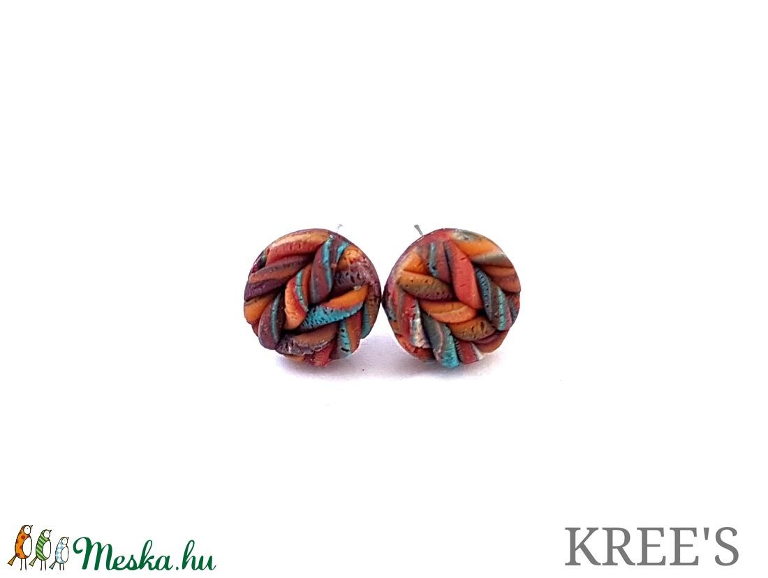 Narancsos, kötött mintás ékszergyurma fülbevaló (KREES) - Meska.hu