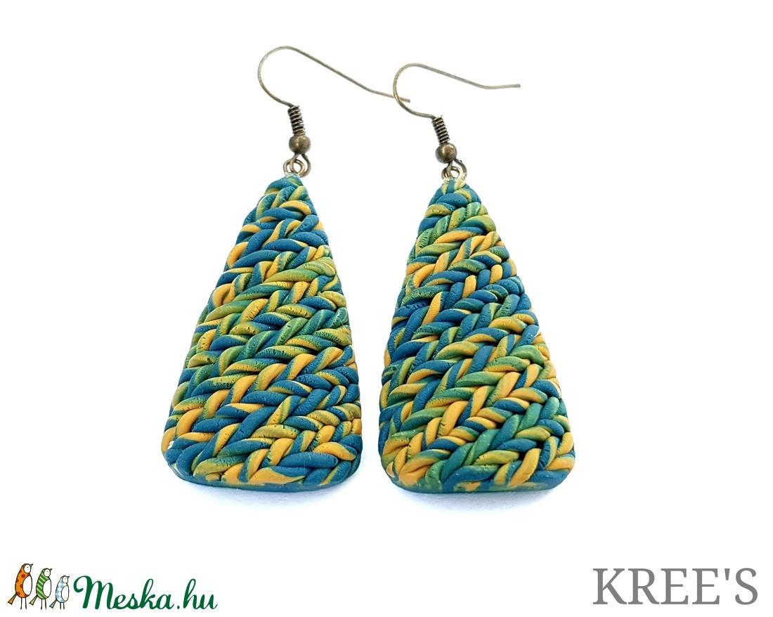 Kék-sárga,  kötött mintás ékszergyurma fülbevaló (KREES) - Meska.hu