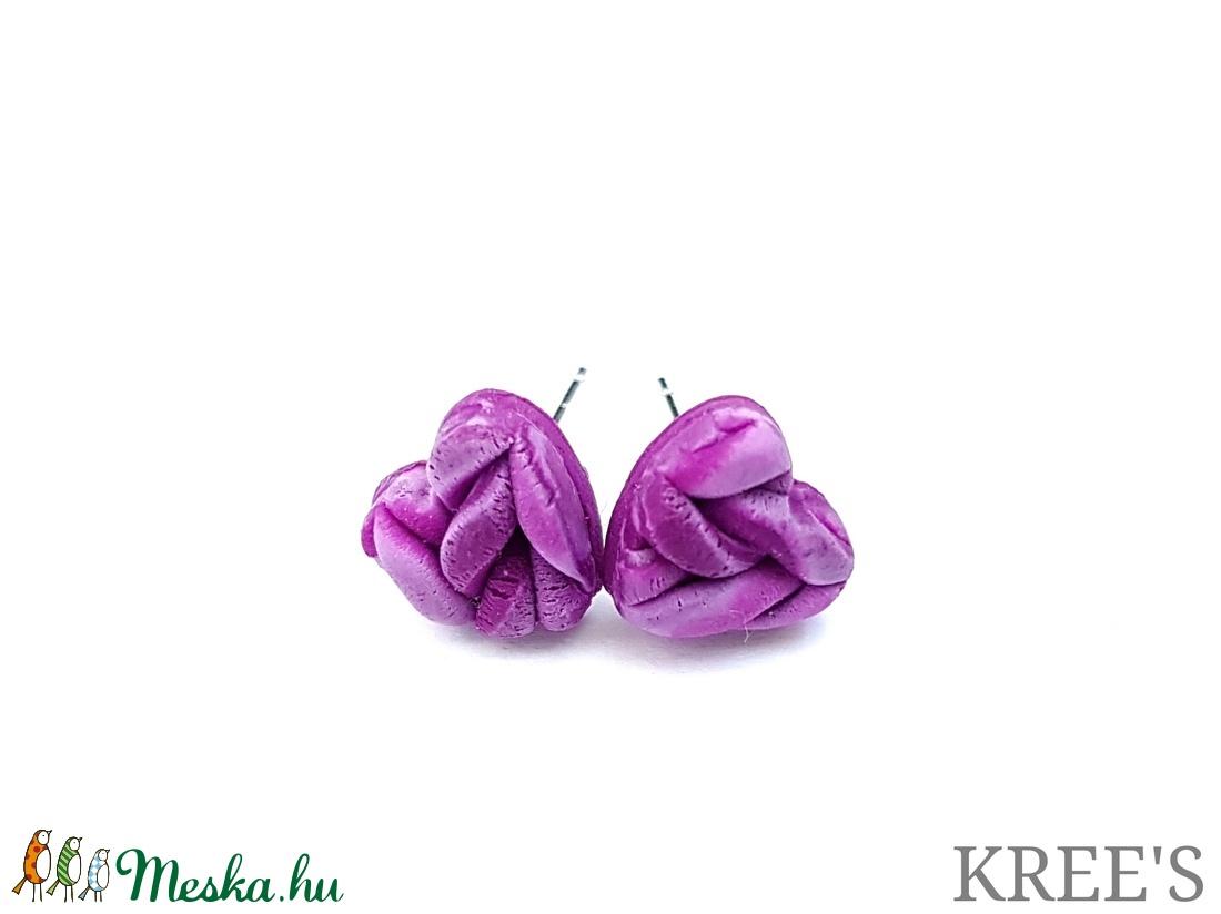 Lila, kötött mintás ékszergyurma fülbevaló (KREES) - Meska.hu