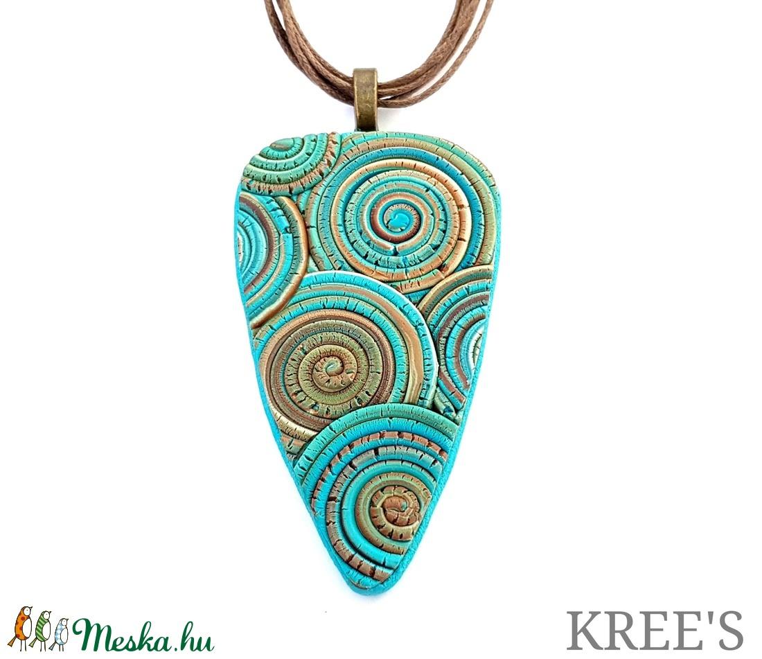 Kék-barna, csigamintás ékszergyurma nyaklánc  (KREES) - Meska.hu