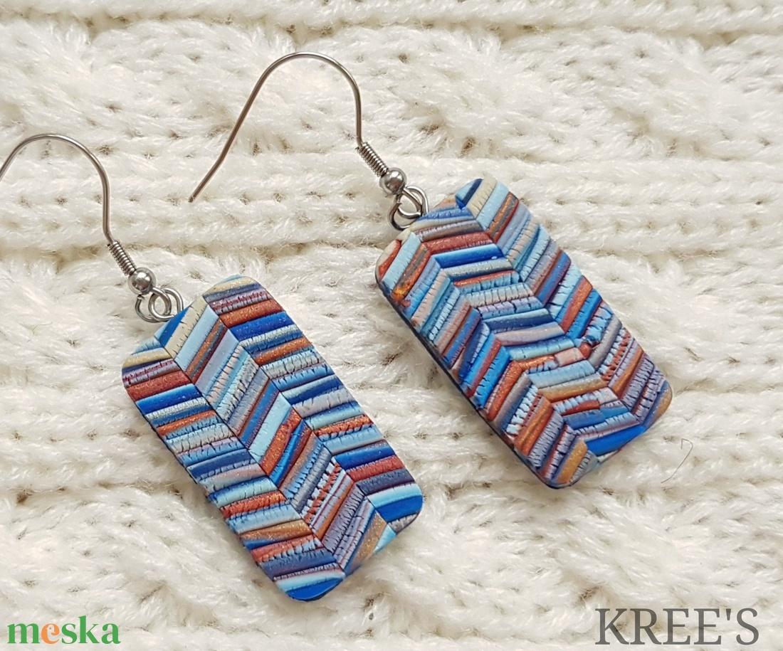 Kék-bronz csíkok, ékszergyurma fülbevaló (KREES) - Meska.hu