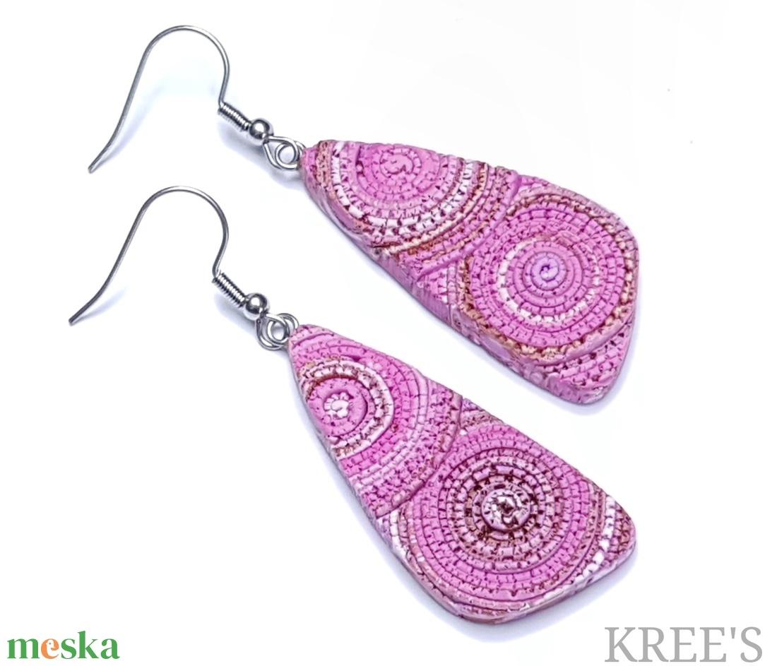Rózsaszín spirál, ékszergyurma  fülbevaló  - ékszer - fülbevaló - lógó fülbevaló - Meska.hu
