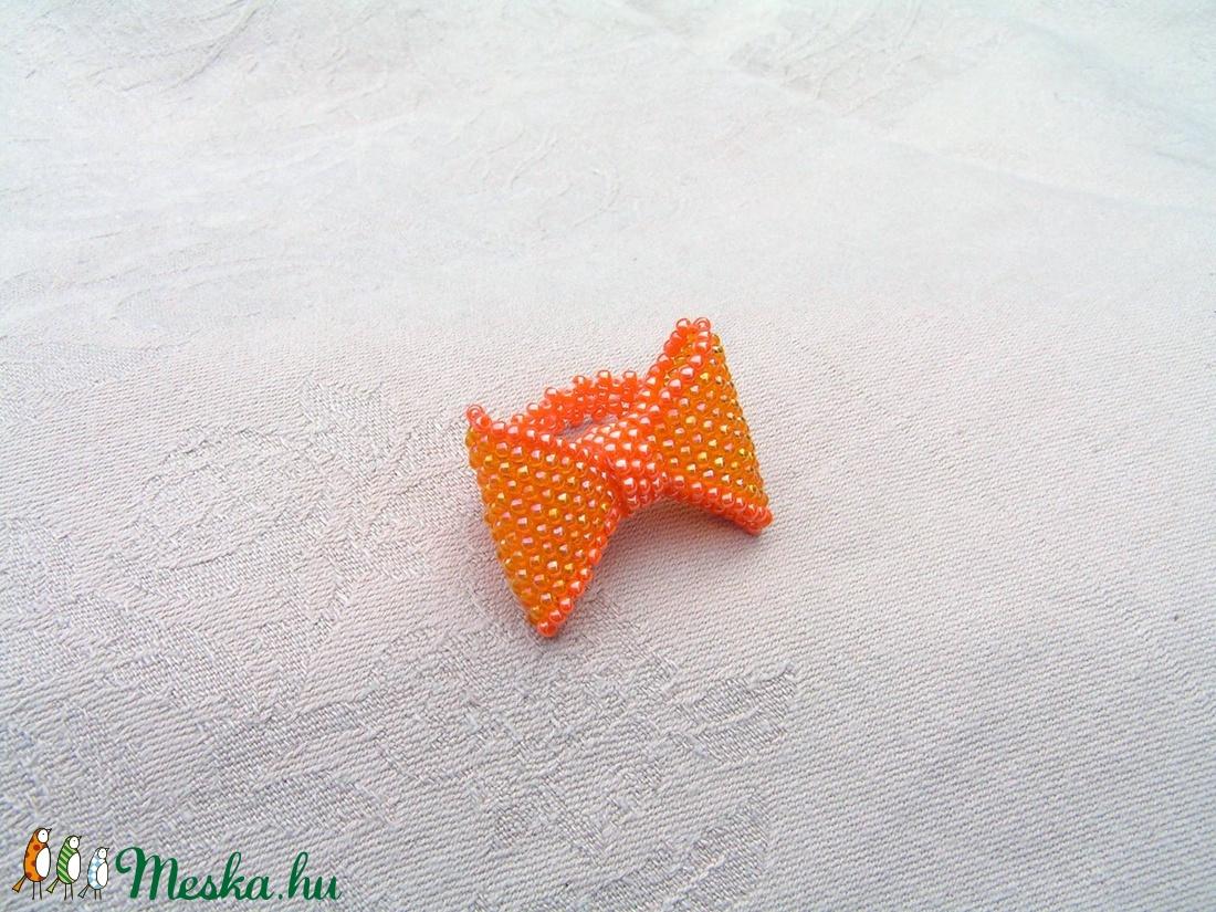 Narancs masnis gyöngyfűzött gyűrű  - ékszer - gyűrű - gyöngyös gyűrű - Meska.hu