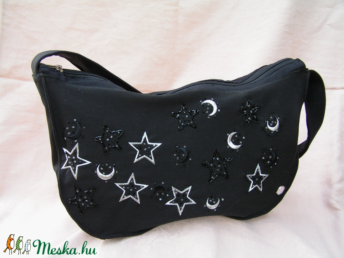 Starlight - Női válltáska hímzett csillagokkal - táska & tok - kézitáska & válltáska - válltáska - Meska.hu