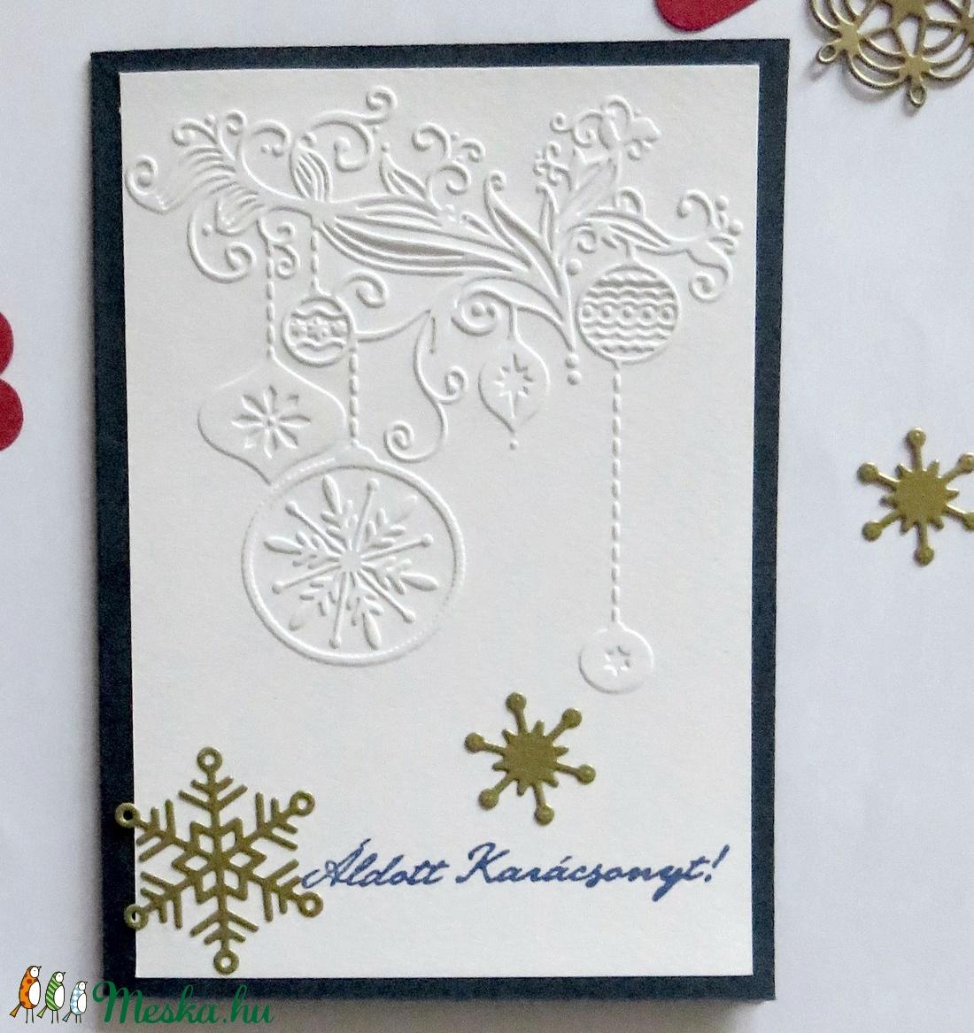 Karácsonyi képeslap , ajándékkísérő,  domborított papír - karácsony - karácsonyi ajándékozás - karácsonyi képeslap, üdvözlőlap, ajándékkísérő - Meska.hu