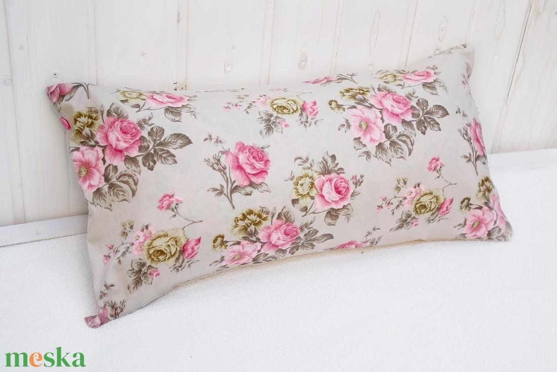 Vintage párna rózsákkal pasztell pink színben romantikus párna rózsás pasztell rózsaszín, shabby chick 60x30cm (OdorsHome) Meska.hu