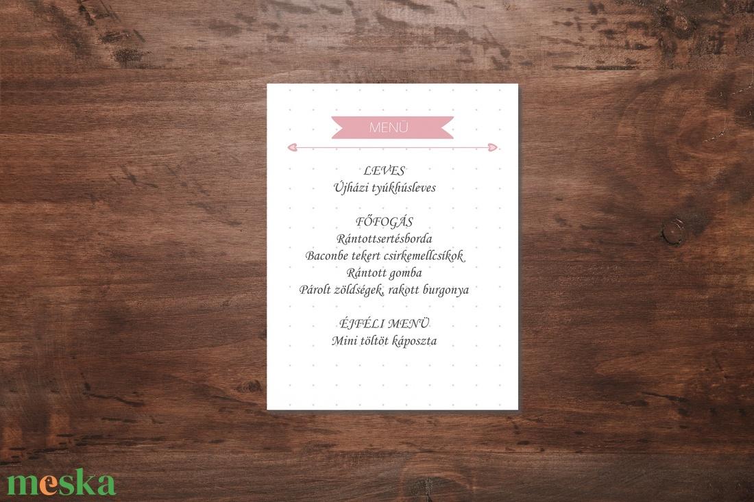 Rózsaszín virágos romantikus esküvői menükártya - esküvő - meghívó & kártya - menü - Meska.hu
