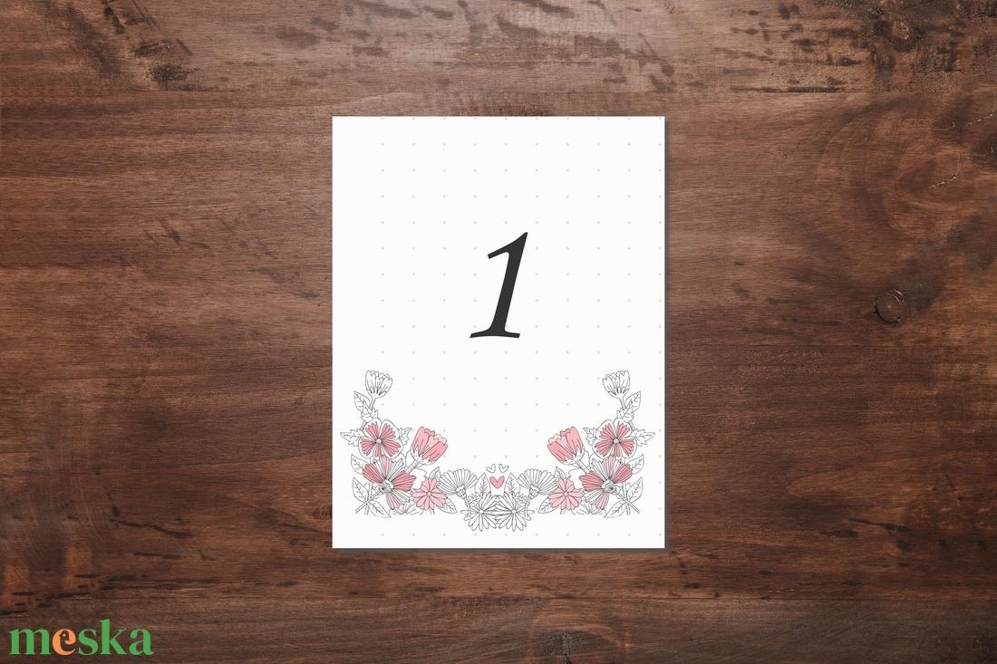Rózsaszín romantikus asztalszám - esküvő - meghívó & kártya - ültetési rend - Meska.hu