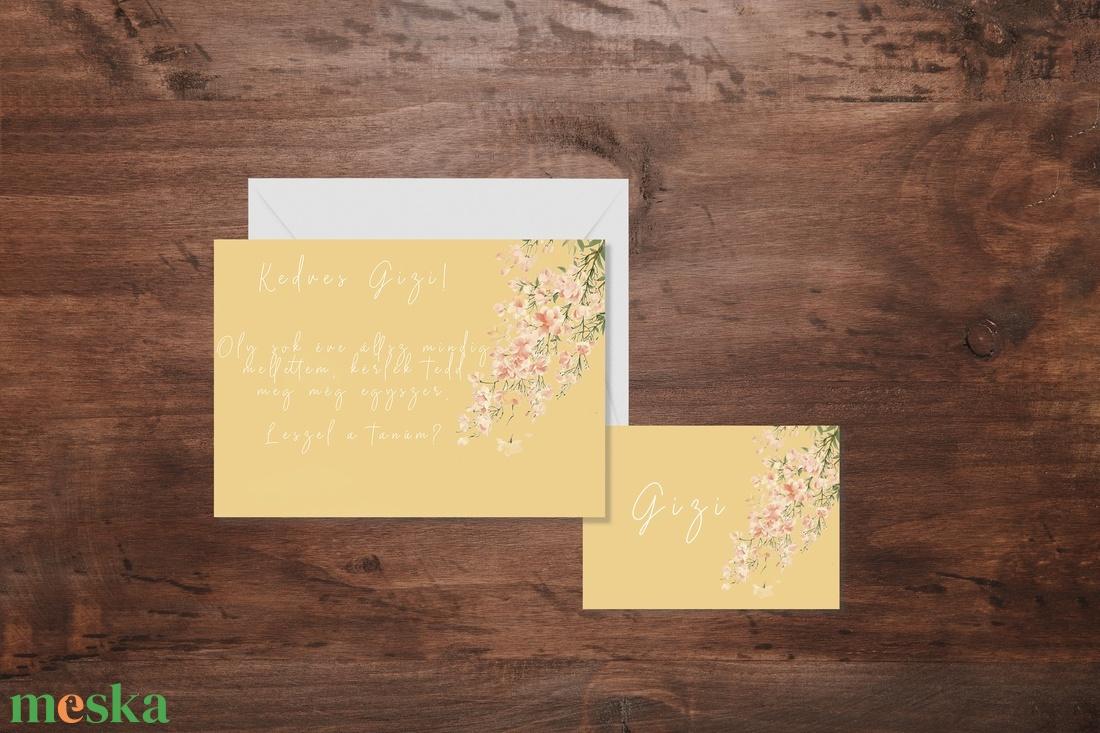 Rózsaszín virágos tanúfelkérő, esküvő, meghívó, dekor, party - esküvő - meghívó & kártya - meghívó - Meska.hu