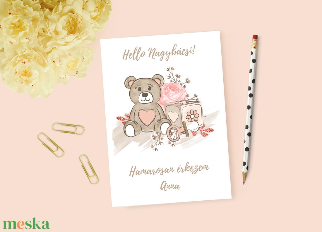 Lányos baba bejelentő kártya, keresztszülő felkérő (krixidesign) - Meska.hu