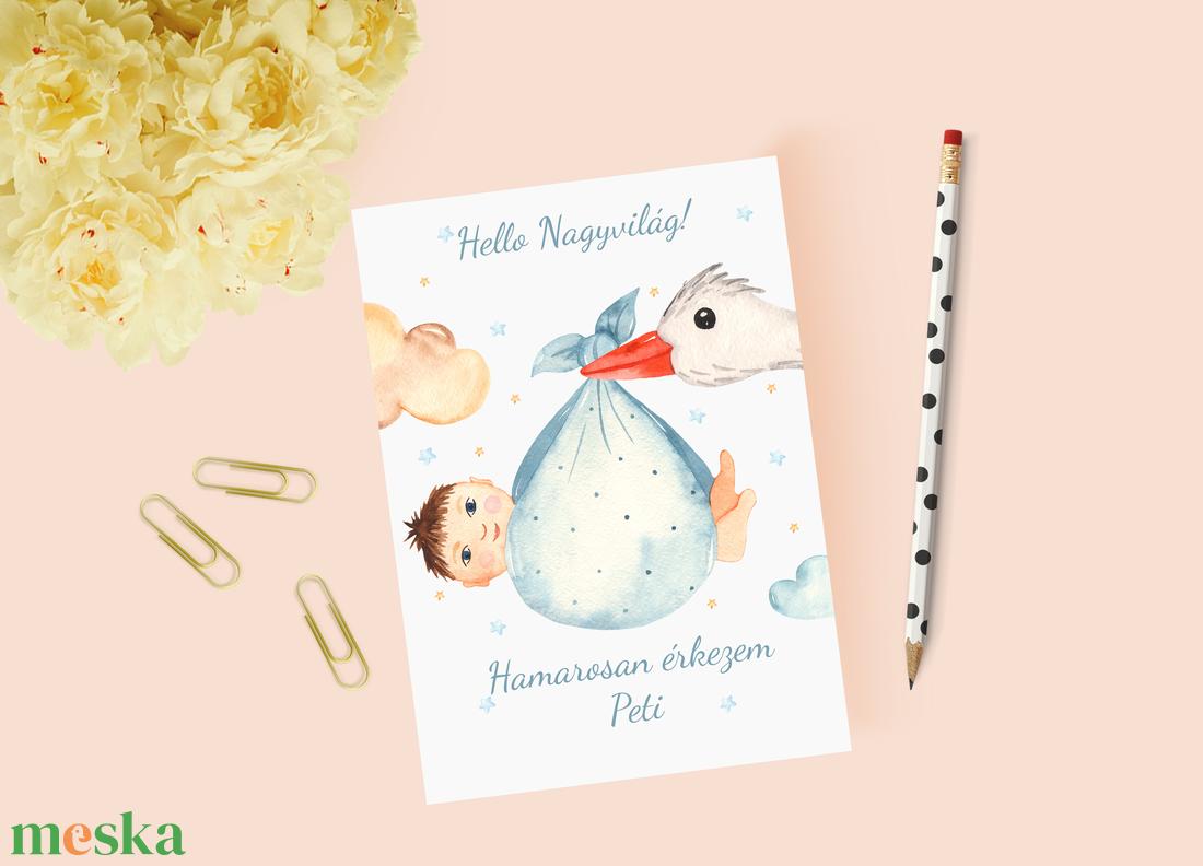 Fiús baba bejelentő kártya, keresztszülő felkérő - játék & gyerek - babalátogató ajándékcsomag - Meska.hu