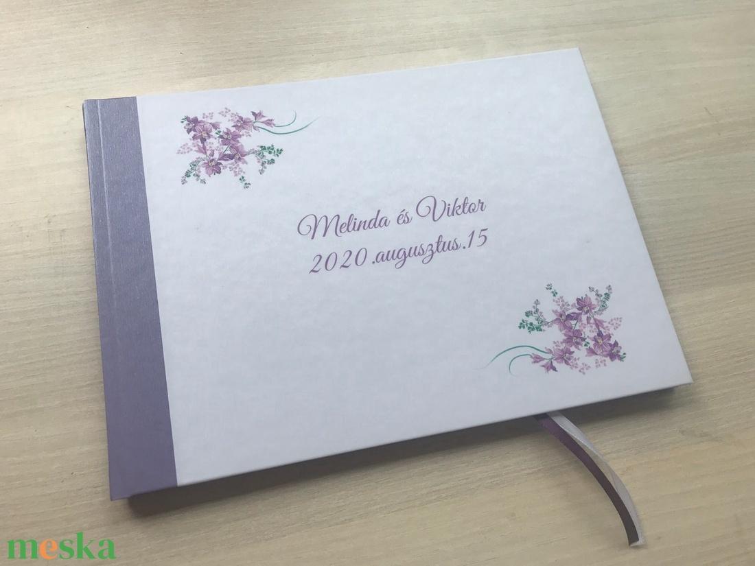 A/5-ös, A/4-es esküvői vendégkönyv, fotókönyv bulira, partyra, levendula mintával - esküvő - emlék & ajándék - vendégkönyv - Meska.hu