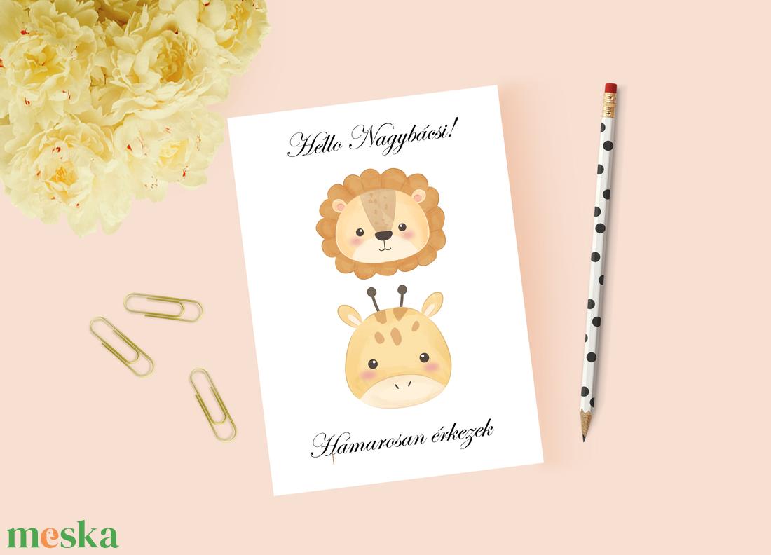 Állatos baba bejelentő, keresztszülő felkérő, babaváróra kártya - játék & gyerek - babalátogató ajándékcsomag - Meska.hu