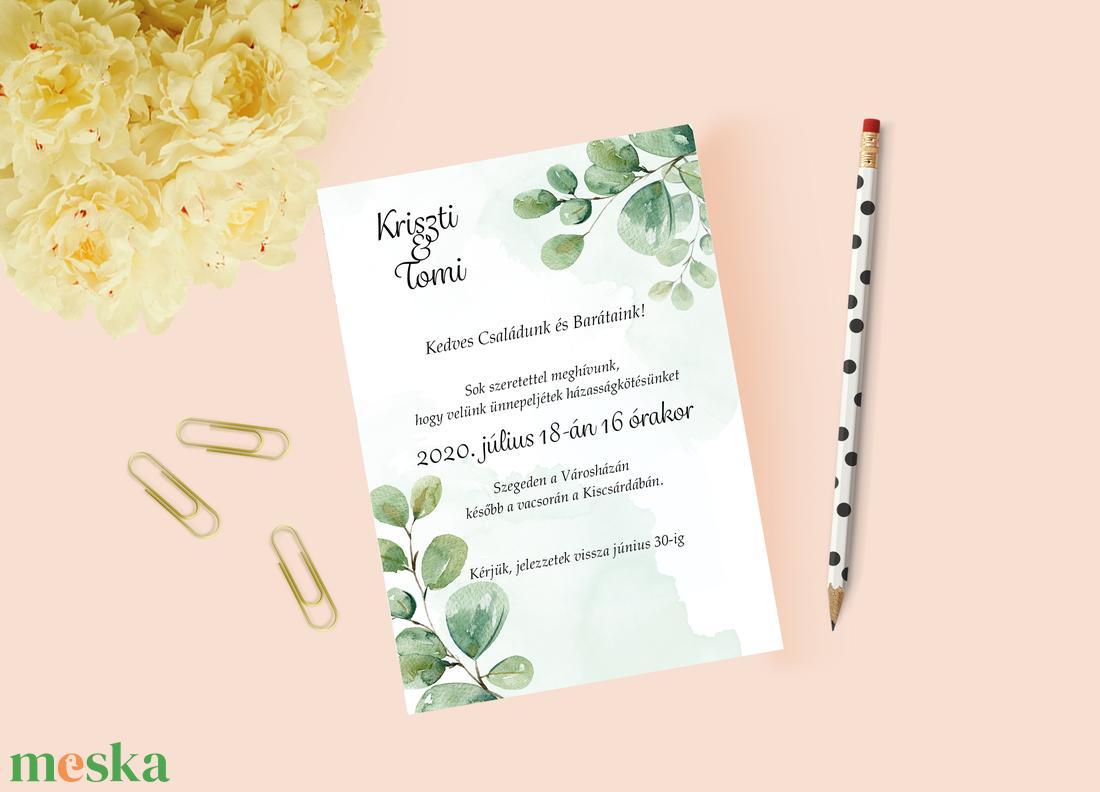 Greenery stílusú esküvői meghívó - esküvő - meghívó & kártya - meghívó - Meska.hu
