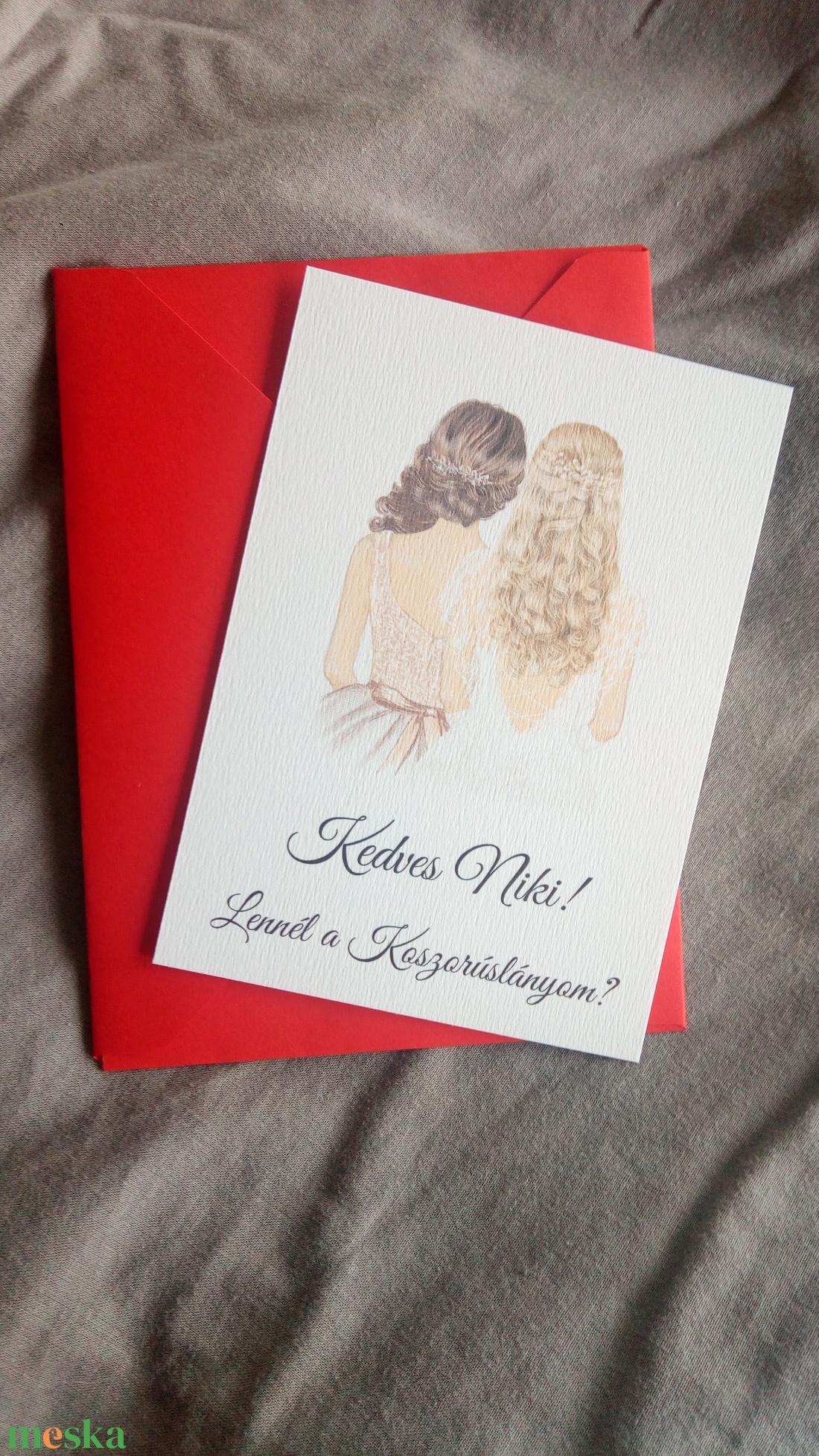 Rajzolt koszorúslány-felkérő kártya borítékkal, tanúfelkérő, esküvőre - esküvő - meghívó & kártya - meghívó - Meska.hu