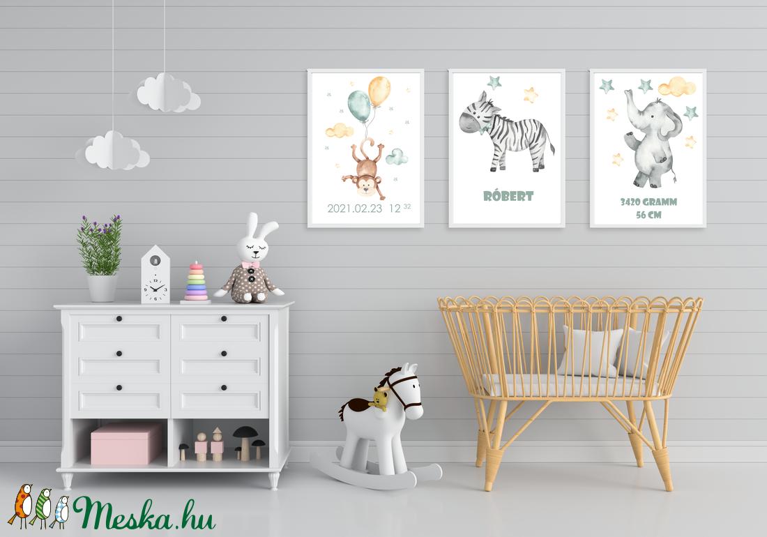 Állatos falikép csomag, 3db, babaszoba dekor, kisfiú - játék & gyerek - babalátogató ajándékcsomag - Meska.hu