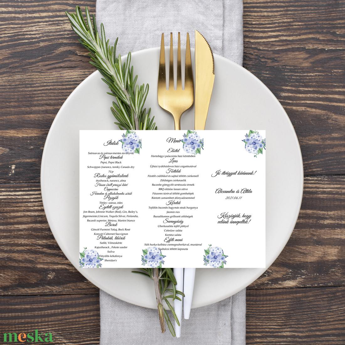 Kék virágos, álló, háromszög menükártya, szalaggal kötve - esküvő - meghívó & kártya - menü - Meska.hu