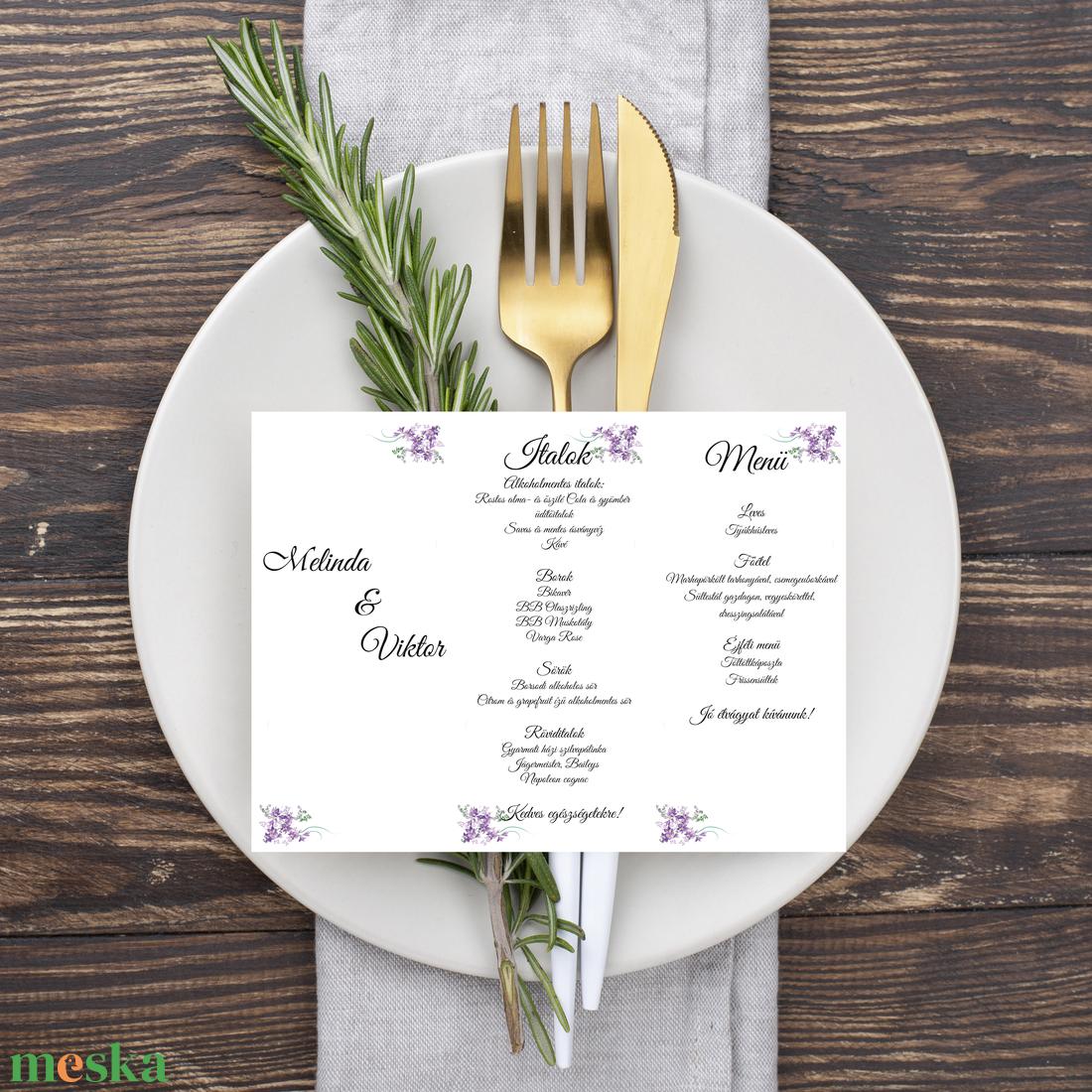 Levendulás, álló, háromszög menükártya, szalaggal kötve - esküvő - meghívó & kártya - menü - Meska.hu